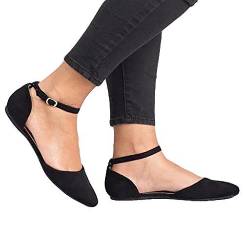 Mode Décontractée Chaussures pour Femmes Pointu Chaussures Plates Sandales Fermées Semelle en Caoutchouc Princesse Sandales, Extérieur Plage Party Danse Sandales, Noir Khaki 35-43