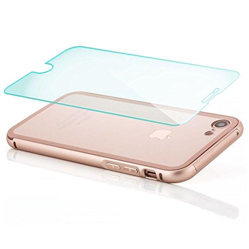"zanasta Hülle Apple iPhone 8 / 7 (4,7"") Aluminium Case + Panzerglas Schutzhülle Alu Rahmen Bumper und Back Cover | Handyhülle mit Plexiglas Rückseite Schwarz Roségold"