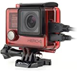 Qiuniu Side Open Protective Skeleton Housing Case With LCD Touch Backdoor For GoPro HERO 4, HERO 3, And HERO 3+ - Transparent Red