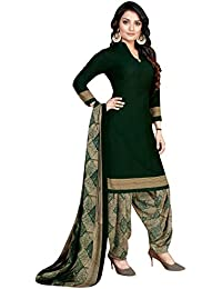Rajnandini Women's Dark Green Crepe Printed Unstitched Salwar Suit Material with Dupatta (Free Size)