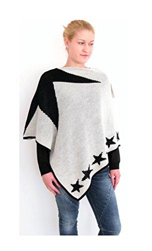 Damen Mode Poncho Überwurf Cape Stola Plaid Sterne Stars (8330) (offwhite/schwarz) (Pants Mode Tricot)