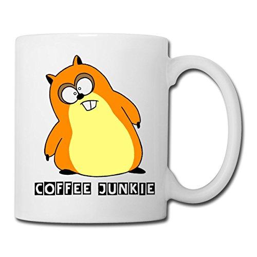 Hamster Auf Kaffee Coffee Junkie Tasse von Spreadshirt®, Weiß