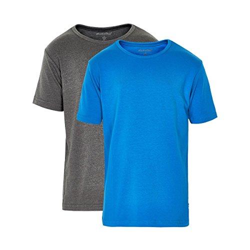 Minymo 2er Pack Kinder Jungen T-Shirt, Kurzarm, Alter 6-7 Jahre, Größe: 122, Farbe: Hellblau und Grau, 3932 (Größe Kurzarm-shirts Jungen 6)