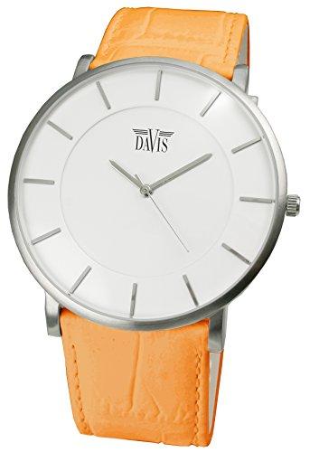 Davis - Montre Design Unisex - Boîte Extra plate -Cadran Blanc - Bracelet en Cuir Orange