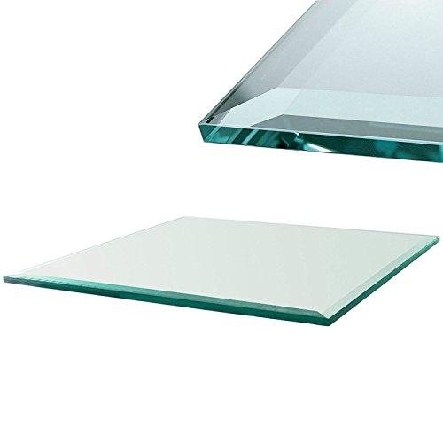 Klar Glas-schreibtisch (Euro Tische - Tischplatte Glasplatte Kamin Glas Bodenplatte ✓ Klar-Glas ✓ 5 Größen: 80x70, 90x60, 90x70, 90x80, 100x70 cm ✓ Facette ✓ 6mm Sicherheitsglas)