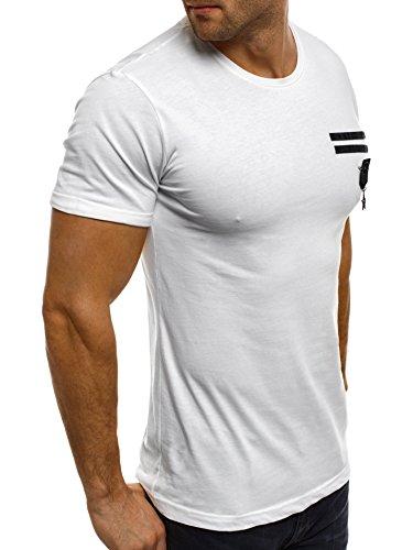 OZONEE Herren T-Shirt mit Motiv Kurzarm Rundhals Figurbetont BREEZY 301 Weiß_BREEZY-371T