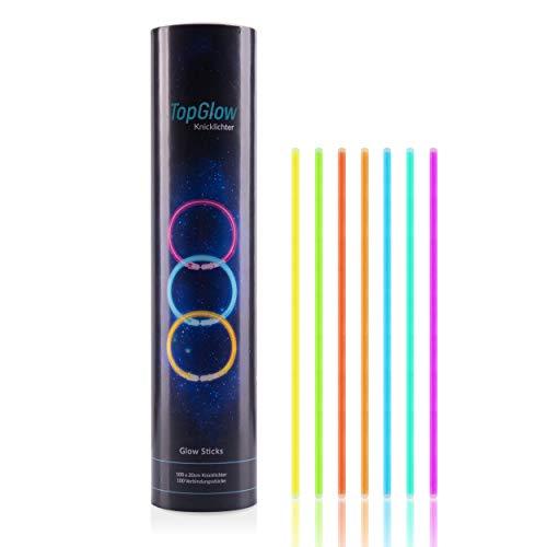 TopGlow Premium Knicklichter - 100 Stück inklusive Verbinder - 7 unterschiedliche Farben - optimal einsetzbar als Partydeko