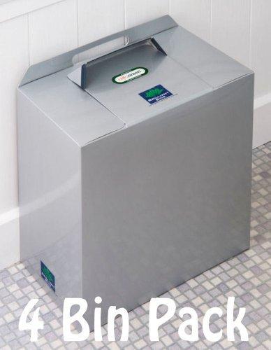 Einweg Sanitär Mülleimer-4Stück Brilliant Mülleimer in Silber Grau Metallic Farbe: Preisgekrönte, niedrige Kosten, keine Verträge