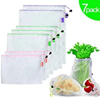 Bosdontek 7Pcs Reusable Mesh Produce Bags Washable Fruit and Veg Bags for Grocery Shopping Storage Fruit Vegetable Bag See-Through with Tare Weight Label, Large Medium & Small (7 PCS)