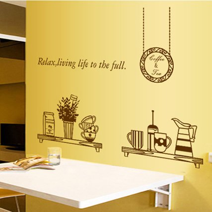 The restaurant wall stickers stickers stickers retro Brown tableware paintings coffee tea shop snack can remove the