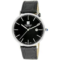 Reloj de hombre de acero inoxidable de cuarzo suizo Burgdorf S0519 Classic Steinhausen para hombre con correa de cuero negra