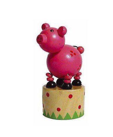 Jouet en bois Wakouwa Marionnette Animal articulé Enfant 3 ans + - Cochon