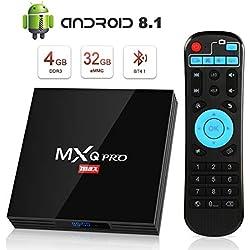 Android 8.1 TV Box 4K Boîtier TV [4GB RAM+32GB ROM] [2018 Dernière Version] SUPERPOW MXQ Pro Max S Android 8.1 Smart TV, Android Box avec HD/H.265 / 4K / 3D / BT4.1 cadeau pour noel