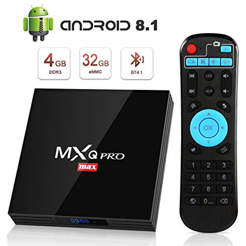 TV Box Android 8.1 Smart TV 4GB ROM+32GB RAM superpow MXQ PRO MAX S Quad-Core mit BT4.1/ 2.4Ghz WiFi / 100 LAN / H.265, 3D/ 4k Smart TV Box