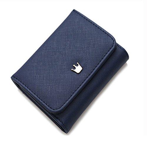 Borsa mini borsa magica del supporto della carta del raccoglitore di cuoio mini (maglia blu) Blu scuro