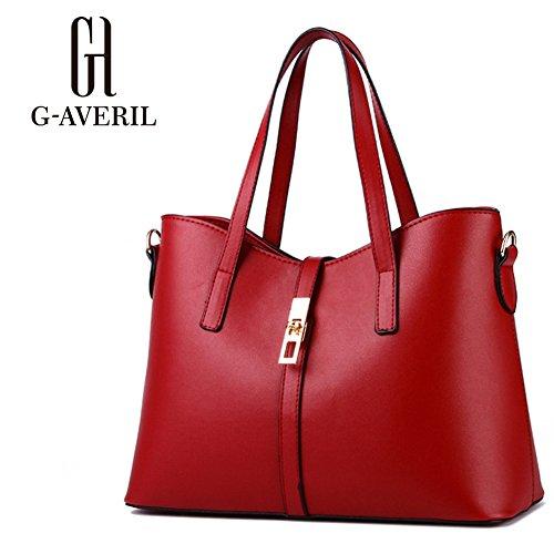 (G-AVERIL) Donna Handbag borsa a Spalla Borse a mano Tote Bag Shoulder Bag con Vino rosso
