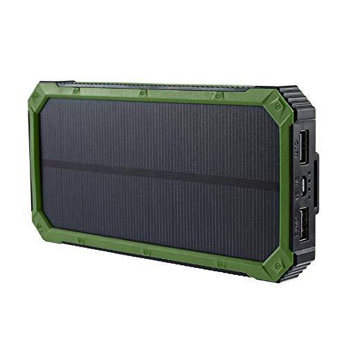 Caricabatterie energia solare,batteria esterna 12000 mah con 2 usb (5v1a-2a) per iphone, ipads, samsung galaxy, android e altri smartphone portatile, alta efficienza di conversione e impermeabile,green
