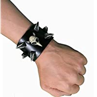 Leather Studded Cuff with Horn Studs - Small - Goth / Rocker / Punk bracelet with resin horn studs and skull SM by Pan