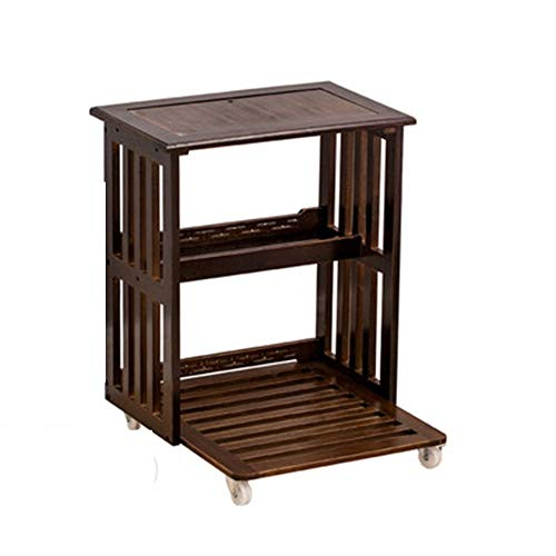 HANSHAN Mesa auxiliar Mesa auxiliar, carrito de té móvil de madera maciza Mesa de centro Armario pequeño for té Armario lateral for té Sala de estar lateral (con cubierta y sin cubierta) Mesas de café