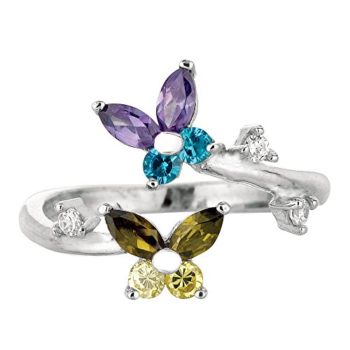 JewelryAffairs Sterling Silber rhodiniert Zirkonia Schmetterlinge bunt Bypass-Stil verstellbar