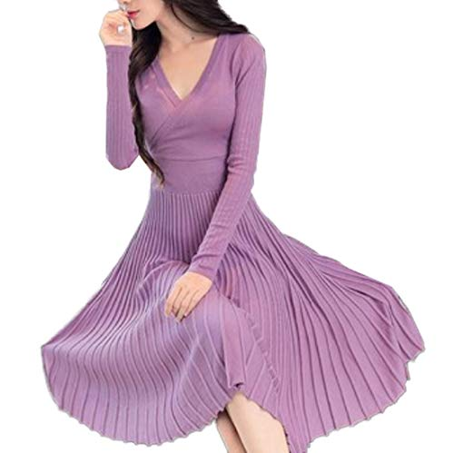 Herbst und Winter Damen Jersey Midi Kleider Mode V Neck Langarm Kleid mit Bandage Strickkleider...