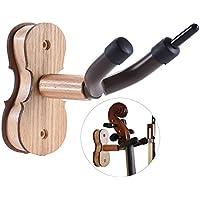 ammoon - Soporte de pared para arco de violín, para casa y el estudio, barra de madera dura y sujeciones, Burlywood