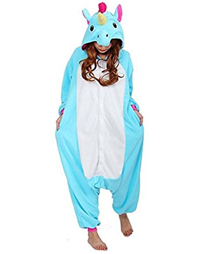 Kenmont Kostüm Einhorn Pyjama Tier Schlafanzug Overall Einteiler Jumpsuit Sleepsuit Cosplay Karneval Halloween (M, Blue)