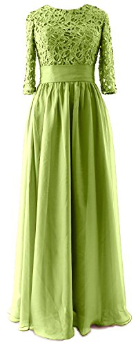 MACloth - Robe - Trapèze - Manches 3/4 - Femme Vert - Vert olive
