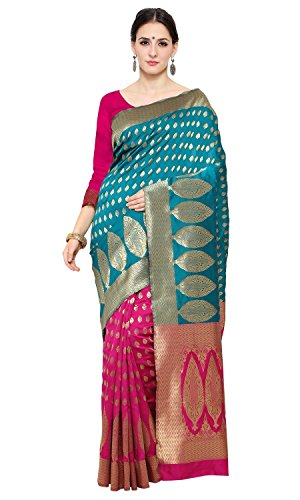 Shree Sanskruti Women's Tussar Silk Saree With Blouse Piece (Pari Banarasi 3...