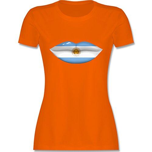Länder - Lippen Bodypaint Argentinien - tailliertes Premium T-Shirt mit Rundhalsausschnitt für Damen Orange