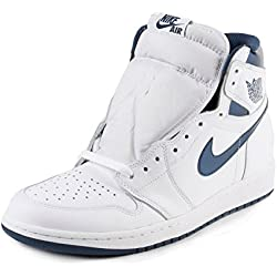 Nike Air Jordan 1 Retro High OG, Zapatillas de Baloncesto para Hombre, Blanco (White / Midnight Navy), 43 EU