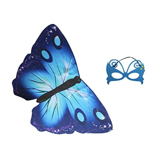 BESTOYARD-Schmetterling-Mantel-Halloween-Cosplay-Chiffon-Tiere-Flgel-Cape-Maske-Set-Leistung-Requisiten-fr-Kinder-Cosplay-Kostm-Party-Blau