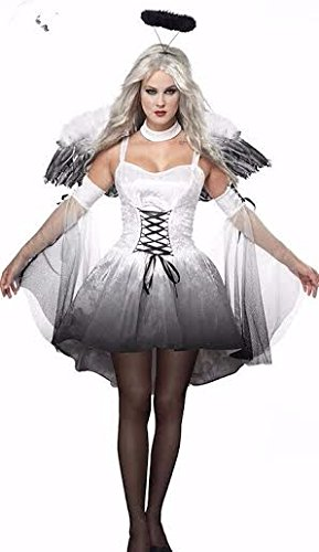 Gefallen Kostüme Damen (Damen grau weiß & Gefallener Engel'Hen Night Halloween Kostüm Kostüme Größe M)