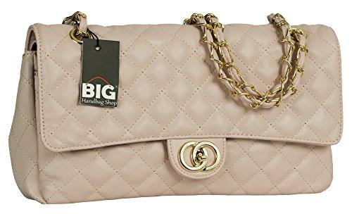 Big Handbag Shop, Damen Schultertasche gesteppt mit Drehschloss Baby Pink - Round Clasp (Design 2)
