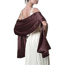 ea9b127e78b9 Très Chic Mailanda Écharpe Châle Étole en Satin Femme Wrap Foulard Pashmina  pour Soirée Cérémonies Fêtes