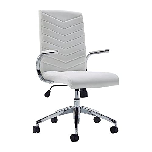 Baresi White Office Chair With White Padded Armrests And Chrome Base For  The Office Or Home Office