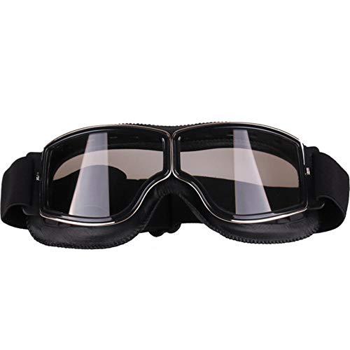 Aolvo Occhiali da moto vintage, alta definizione, con protezione contro i raggi UV, utili anche per lo snowboard, antivento, da uomo Black+transparent