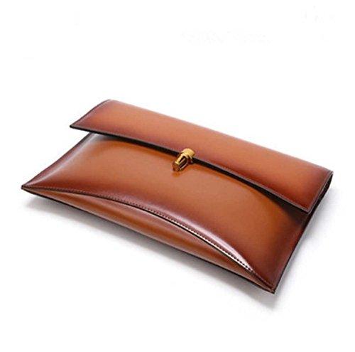 Neue Lederhandtasche Umschlag Bankett Tasche Weinlese Einfache Umhängetasche Brown