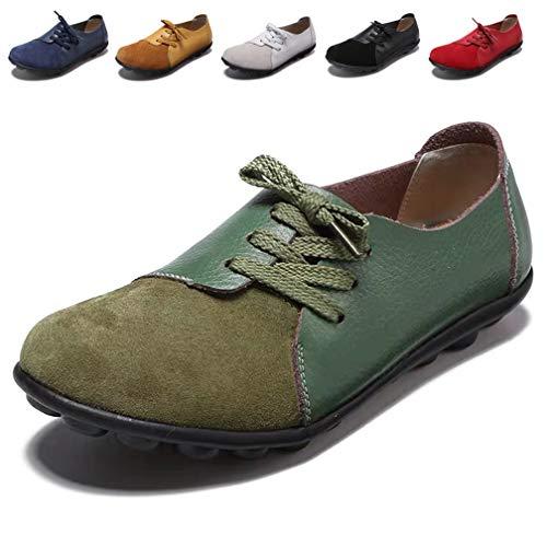 Hishoes Damen Mokassin Bootsschuhe Leder Loafers Fahren Flache Schuhe Halbschuhe Slippers Erbsenschuhe, 39 EU=Etikettengröße 39 (Damen Halbschuhe Leder Schuhe)
