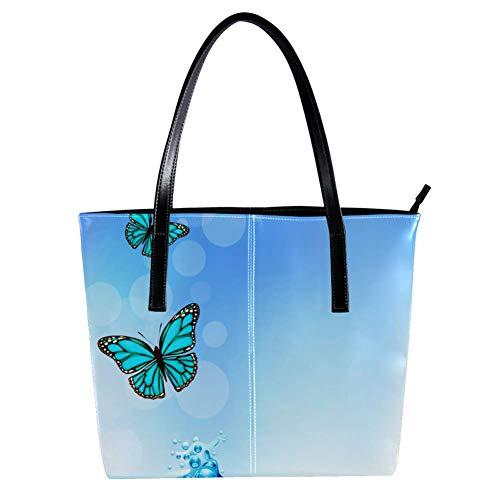 Women's Bag Shoulder Tote handbag with Blue Butterfly Print Zipper Purse PU Leather Top-handle Zip Bags -