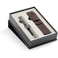 Parker Sonnet - Set de bolígrafo, negro con adornos cromados, estuche de PU