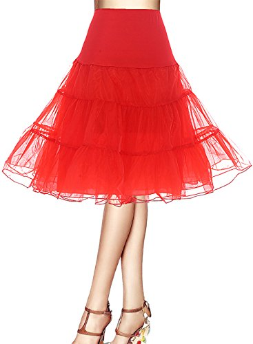 Bbonlinedress Organza 50s Vintage Rockabilly Petticoat Underskirt Red (Red M&m Kostüm)