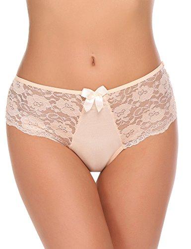 ADOME Damen Spitze Hipster Panties G-String Basic Brief Slips Hüftslip Unterhose Unterwäsche Thongs Höschen verführerischen Spitzendetails Pantys S-XXL -