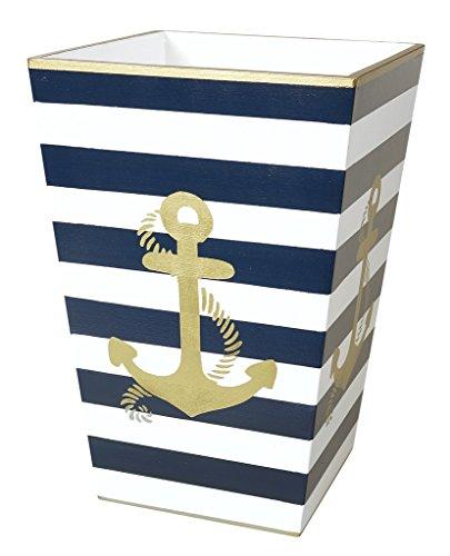 Bad Accessoires Set Badezimmer Decor Sets Blau Streifen gold Anker, holz, blau, Trash Can