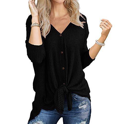 Mujer Tejer Camisetas Cuello V Waffle Mangas Larga con Botón Punto de Nudo Corbata Blusa Túnica Tops Cárdigan (L, Negro)