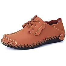 FuweiEncore Mocasines para Hombre Zapatos, Cargador para Hombre Tacón Plano con cordón Color sólido Zapatos