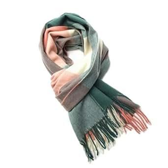 XL automne hiver écharpe classiques foulards à carreaux foulards colorés Tartan Plaid pour femmes filles dames cachemire imitation longue doux Wrap Lady étole de châle taille 200 x 70 cm