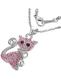 Mode Kristall Kitty Katze Glocke Charm Halskette mit Schmucksteinen - Rosa