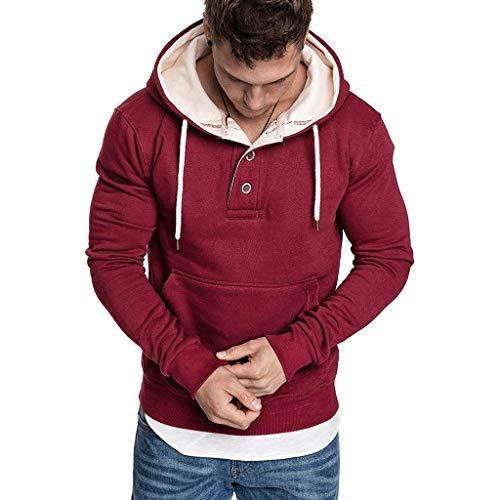 Xmiral Sweatshirt Hoodie Herren Einfarbig Knopf Kapuzenpullover mit Tasche Herbst Pullover Strickwaren Outwear mit Kapuze(a Weinrot,M)