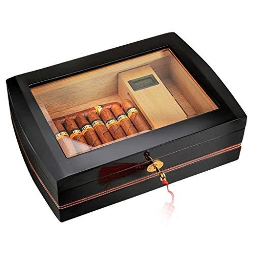 JOLLY Humidor de cigarros de sobremesa, cedro y cuero Caja de almacenamiento de cigarros Diseño de sello de pozo con bandeja y divisor ajustable, higrómetro de vidrio y humidificador de rectángulo, pa